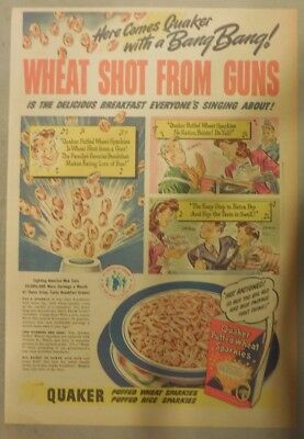 """Quaker Cereal Ad: """"Wheat Shot From Guns"""" Wartime from 1940's 11 x 15 inches"""