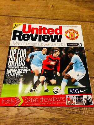 Manchester United V Manchester City- League Cup Semi 2010 -Official Programme