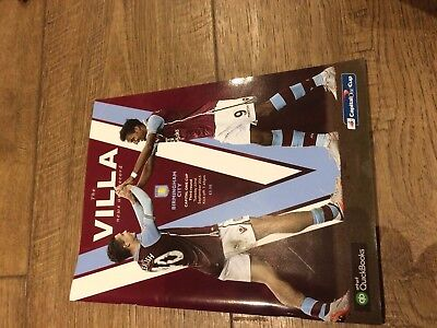 Aston Villa V Birmingham City League Cup- 22 September 2015-Official Programme
