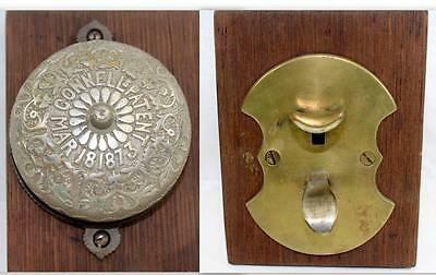Antique Victorian 1873 Connell's Bronze/Nickel Plated Lever Operated Doorbell