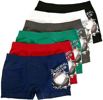 "ToBeInStyle Boy's Pack of 6 Seamless Boxer Briefs ""Baseball Club"""
