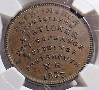 "A "" Mule ""  Portsmouth N. H. -Hard Times Ht-194 - Low - 124 - Ngc Ms-61 Nr"