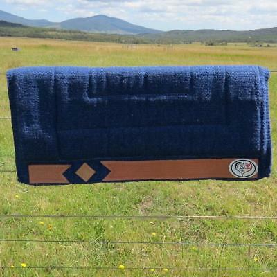 LOVE MY HORSE Thick Wool Stock / Western Saddle Blanket Pad Blue