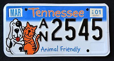 "TENNESSEE "" ANIMAL FRIENDLY - DOG - CAT ""  MINT TN SPECIALTY License Plate"