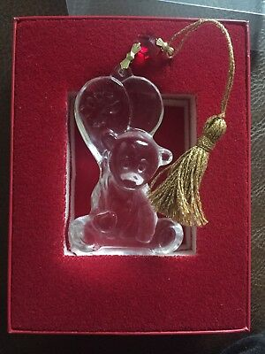 WATERFORD BABYS FIRST CHRISTMAS XMAS DECORATION Teddy Crystal Ornament 2008