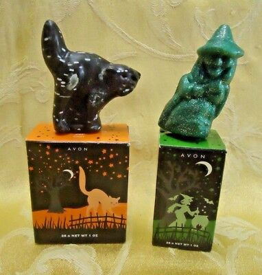 Lot of 2 Vintage Avon Halloween Soaps Cat and Witch