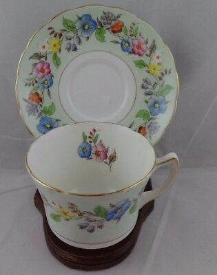 Foley Bone China Tea Cup And Saucer Floral pale Green Gold Trim England