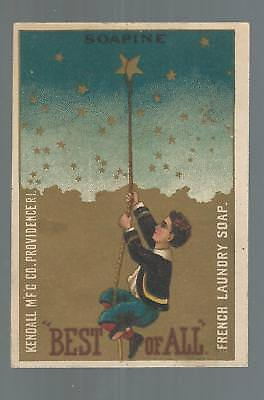 Victorian Trade Card. Soapine Kendall Mfg. Co., Providence, Ri. Boy Lassoed Star