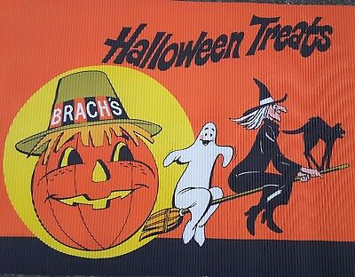 1977 Vintage Brach's Halloween Candy Store Sign Banner Display Witch Cat 24x121""