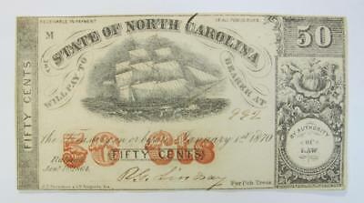 January 1, 1870  State of North Carolina * 50¢* #992 # Great Condition!