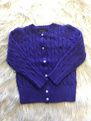 New Girl Purple Ralph Lauren Cable Knitted Cardigan Size 4T And Size 5