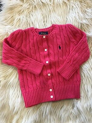 New Pink Girl Ralph Lauren Cable Knitted Cardigan Size 5