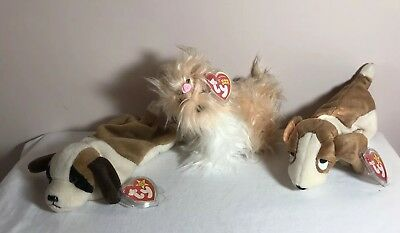 Ty Beanie Baby Lot of 3 Dogs W/Tag Protectors