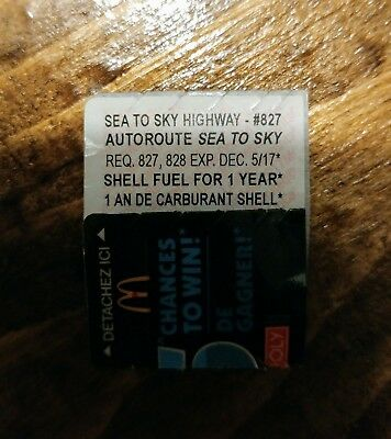 McDonalds Monopoly - SEA TO SKY HIGHWAY - #827 - SHELL FUEL FOR 1 YEAR