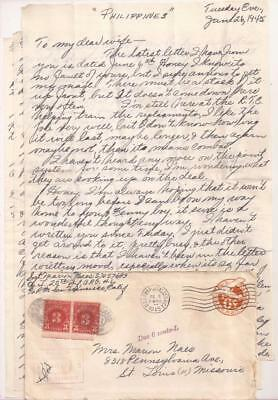 WWII Frontline Letter, 6th Infantry Division. Philippines 1945. Battle for Luzon