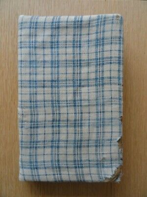 Antique Blue Plaid Calico Cloth FABRIC COVERED 19th c BOOK (School Reader)