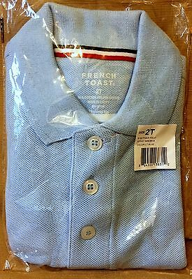 New French Toast Sz 3T Light Blue Knit Polo Unisex Cotton Blend Short Sleeves