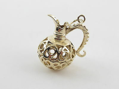 Vintage 14K Yellow Gold 3 D Filigree Vase Pitcher Charm