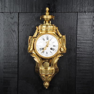 Antique French Gilt Bronze Cartel Wall Clock C1880 Fully Working