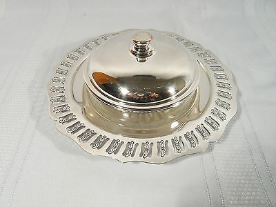 """Vintage Canadian 7 1/4"""" Silver Plate & Glass Low Butter Dish with Cover"""