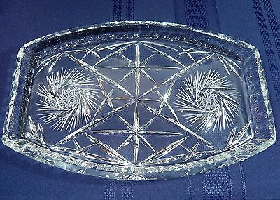 FINE Large Vintage Cut Crystal Serving Sandwich or Dresser Tray 12 1/4 in. Glass