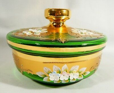 Bohemian Gilded Glass LIDDED  BOWL Covered CANDY  Dish  GREEN  ENAMELLED FLOWERS