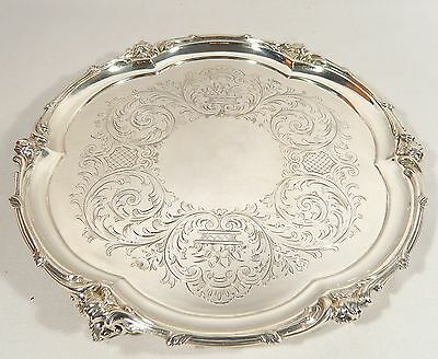 "Antique 1854  ELKINGTON & Co 10 1/2"" Silver Plate open work Footed Salver / TRAY"