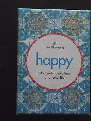 'HAPPY' Little Affirmations Cards w Wooden Stand - New in Box - 24 quotations
