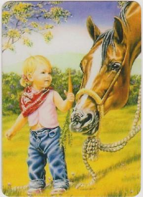 Swap/Playing Card ~ LITTLE GIRL WITH CARROT FOR HORSE ~ Modern Wide x 1