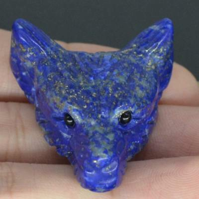 Howling Wolf Lapis Gemstone Animal Pendant Hand Carved Stone Necklace Jewelry