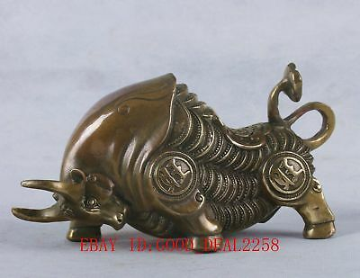 Old Chinese Bronze Handwork Carved Cattle Statue With Ming Dynasty Mark