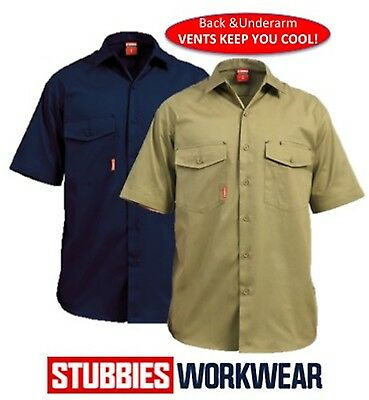 STUBBIES MENS 160gsm SUMMER WEIGHT WITH VENTS DRILL WORK SHIRTS SHORT SLEEVE