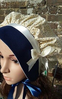 Ladies VICTORIAN REGENCY Cotton  BONNET Dickens Country Bow Costume Christmas