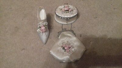 Collectors Item - Satin Cream Shoe, Handbag And Ear Ring Box Ornaments