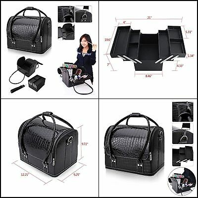 Professional Beauty Make Up Case Nail Cosmetic Box Vanity Case (Black)