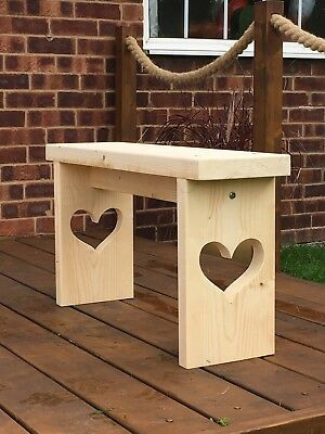 Handmade With Love Shabby Chic Heart Bench Seat Chair
