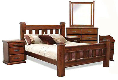 Swansea 5 Piece Old Walnut DOUBLE Size Solid Timber Bedroom Suite - BRAND NEW