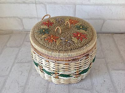 Vintage 1960's Small Round  Brown Flower Wicker Rattan Sewing Pot Box Basket