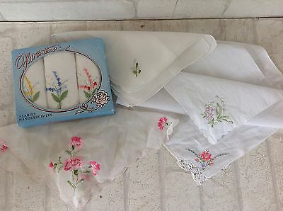 Vintage 1960's Pink Embroidered Flower Pattern Handkerchiefs x 7