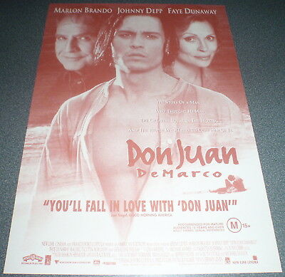 Promotional Movie Flyer : A4 : DON JUAN DeMARCO : Johnny Depp