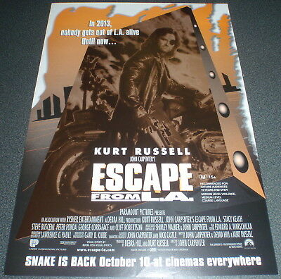 Promotional Movie Flyer : A4 : ESCAPE FROM L.A. : John Carpenter Kurt Russell