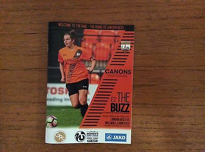 London Bees v Millwall Lionesses 2017 WSL 2 Programme