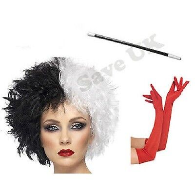 Cruella Deville De Ville Fancy Dress Costume Wig Cigarette Holder Gloves Lot.