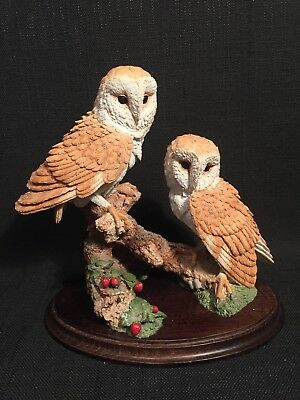 Country Artists Barn Owl Pair Statue Figure Ornament 00911