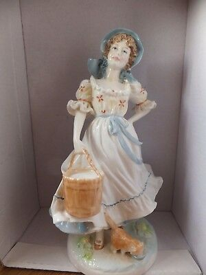 """Old country ways """"the milkmaid"""" royal Worcester limited edition boxed 7640 rare"""
