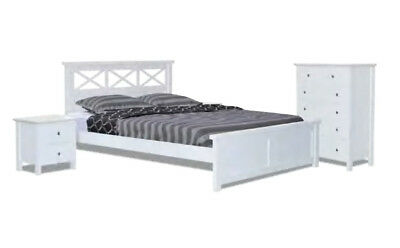 Terrance 4 Piece White Queen Size Timber Bedroom Suite - BRAND NEW