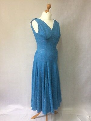 True Vintage 1950s Blue Lace Dress with full skirt, Needs TLC. Size XS.
