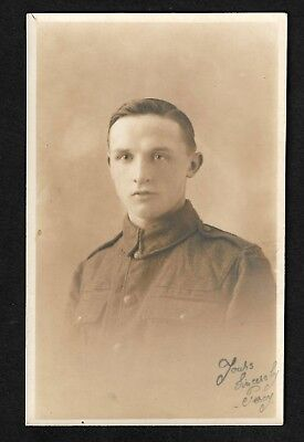 WW1 RP Signed postcard of soldier Percy a very young soldier
