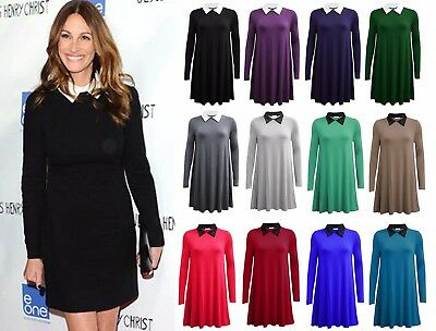 Womens Ladies Block Shift White Collar Cuff Fit Long Sleeve Peter Pan Mini Dress