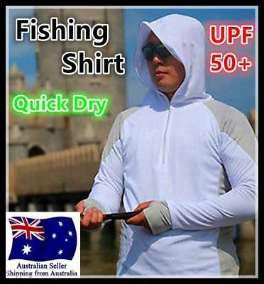 Mens Long Sleeve Sunproof Fishing Shirt UPF 50+ Clothe Quick Dry White AU Seller